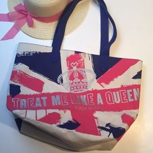 Body Shop Tote, Treat Me Like A Queen, Pink & Blue